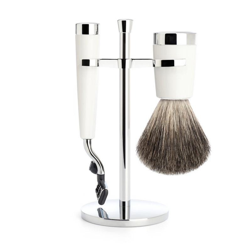 Muehle Liscio - Бритвенный набор, белая смола, натуральный барсучий ворс, бритва Mach3