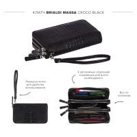 Мужской  клатч с 3-мя автономными отделениями BRIALDI Massa (Масса) croco black
