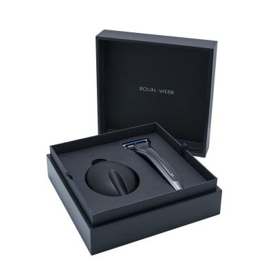 Bolin Webb X1 - Подарочный набор, бритва X1 карбон, подставка X1 черная