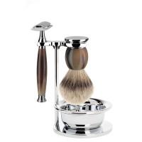 Muehle Sophist - Бритвенный набор натуральный рог, барсучий ворс высшей категории Silvertip, Т-образная бритва, чаша