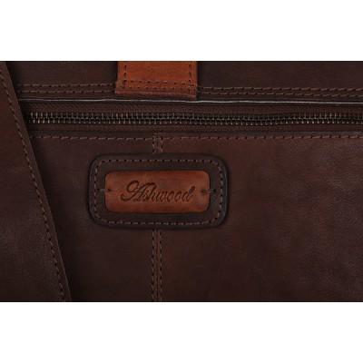 Кожаный портфель Ashwood Leather Doris Brown Cognac