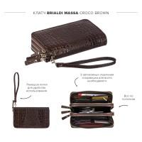 Мужской  клатч с 3-мя автономными отделениями BRIALDI Massa (Масса) croco brown