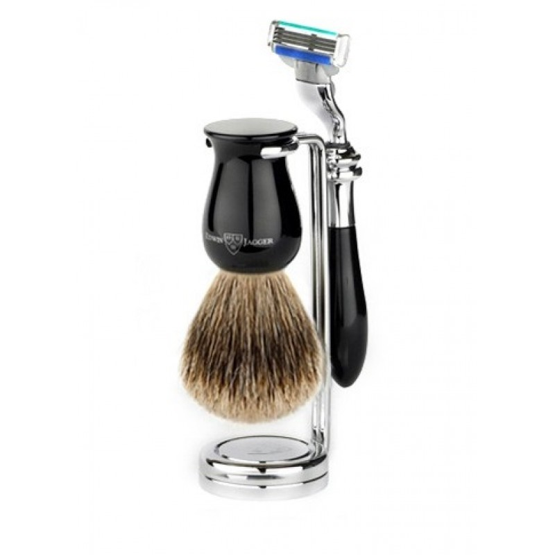 Edwin Jagger S81M716CR - Набор для бритья, черная смола Mach 3