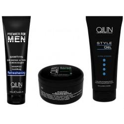 Ollin Premier for Men - Набор (Шампунь для волос и тела освежающий 250 мл + Воск для волос 50 г + Гель для укладки волос 200 мл)