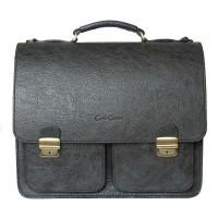 Кожаный портфель Fraccano black (арт. 2003-05)