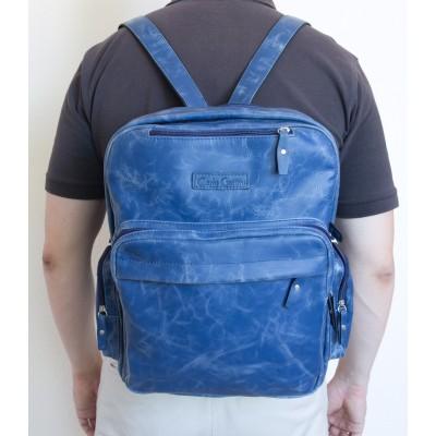 Кожаная сумка-рюкзак Reno blue (арт. 3001-07)
