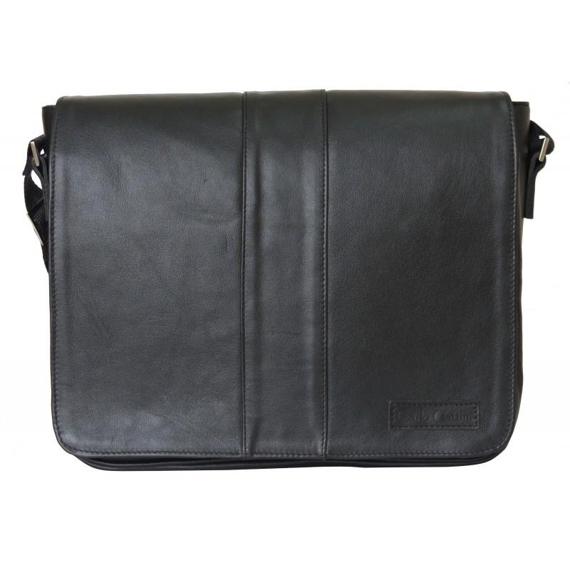 Кожаная сумка через плечо Vindsborn black (арт. 5007-01)