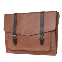 Кожаная мужская сумка через плечо  Salento cog/brown (арт. 5010-03)