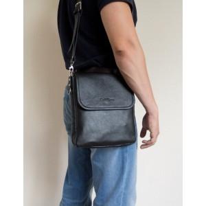 Кожаная мужская сумка через плечо  Lotelli black (арт. 5027-01)