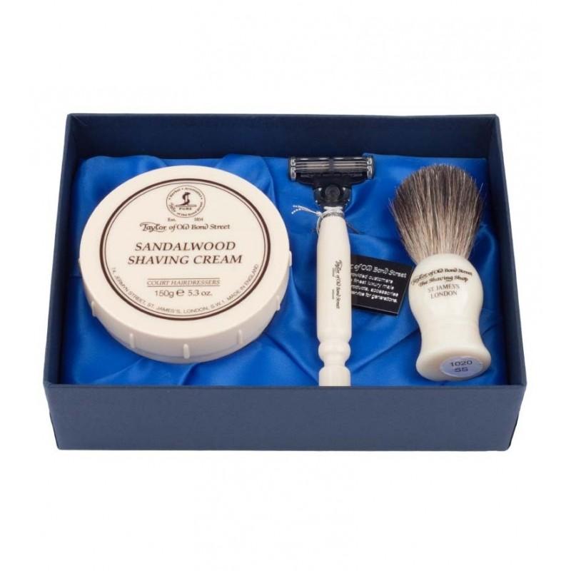 Taylor Of old Bond Street Sandalwood Satin Lined Gift Box Pure Badger - Подарочный набор для бритья