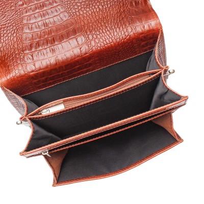 Портфель вертикальный из натуральной кожи Gilbert Redwood Caiman