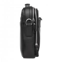 Кожаная мужская сумка через плечо Anhor Black