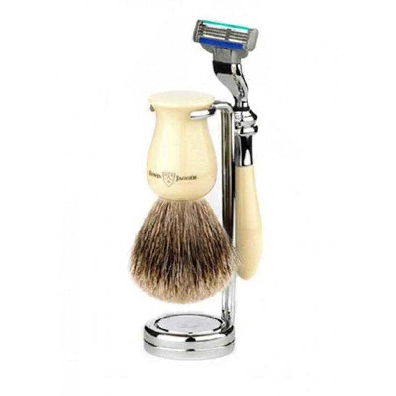 Edwin Jagger S81M717CR - Набор для бритья, цвет слоновой кости Mach 3