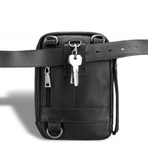Кожаная сумка через плечо BRIALDI West (Вест) relief black