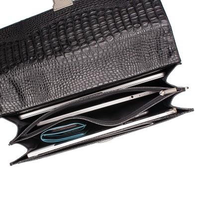 Кожаный портфель мужской Lakestone Braydon Black Caiman
