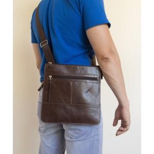 Кожаная мужская сумка через плечо  Valbona brown (арт. 5022-02)