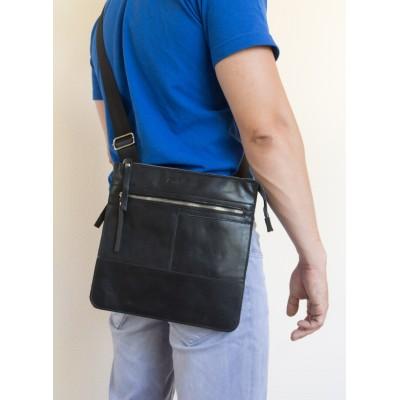 Кожаная мужская сумка через плечо   Valbona black (арт. 5022-05)