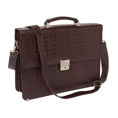 Кожаный портфель мужской Lakestone Braydon Brown Caiman