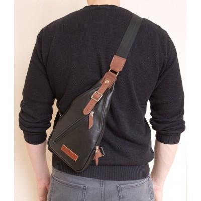 Кожаный рюкзак мужской Crosetta black (арт. 3030-01)
