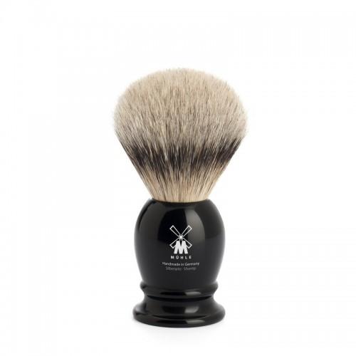 Muehle Classic - Помазок, барсучий ворс высшей категории Silvertip, черная смола, размер S