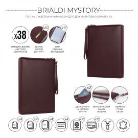 Папка для документов А4 с жесткой формой BRIALDI Mystory (Моя история) relief cherry