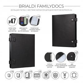 Большая папка с жестким каркасом для документов А4 BRIALDI Familydocs (документы всей семьи) relief black