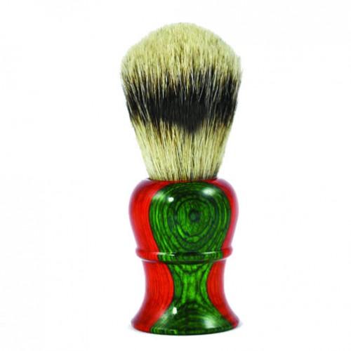 Metzger Orange/Green wood - Кисточка для бритья из барсучьего волоса Sb-11255