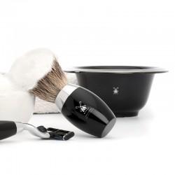 Muehle - Чаша для бритья, черный фарфор, платиновый обод