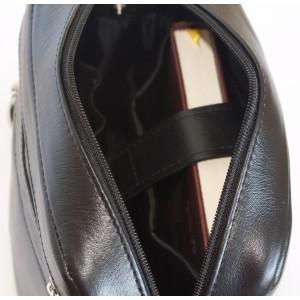 Кожаная мужская сумка через плечо  Tanaro black (арт. 5015-01)