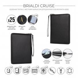 Органайзер для документов А5 с жесткой формой BRIALDI Cruise (Круиз) relief black