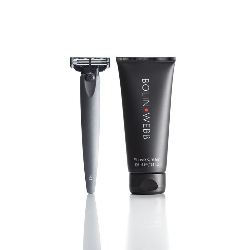 Bolin Webb - Подарочный набор Bolin Webb R1, бритва R1 серый графит, крем для бритья