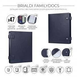 Большая папка с жестким каркасом для документов А4 BRIALDI Familydocs (документы всей семьи) relief navy
