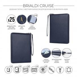 Органайзер для документов А5 с жесткой формой BRIALDI Cruise (Круиз) relief navy
