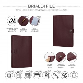 Папка для документов А5 мягкой формы BRIALDI File (Файл) relief cherry