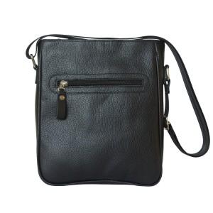 Кожаная мужская сумка через плечо  Montedale black (арт. 5028-01)