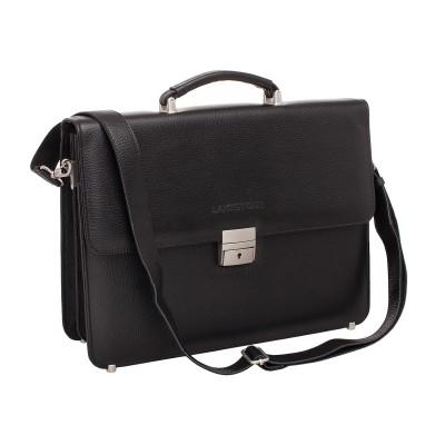 Мужской портфель из натуральной кожи Lakestone Braydon Black (F)