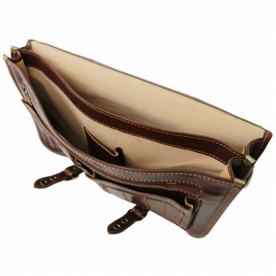 Мужской портфель из натуральной кожи CAPRI (Темно-коричневый)