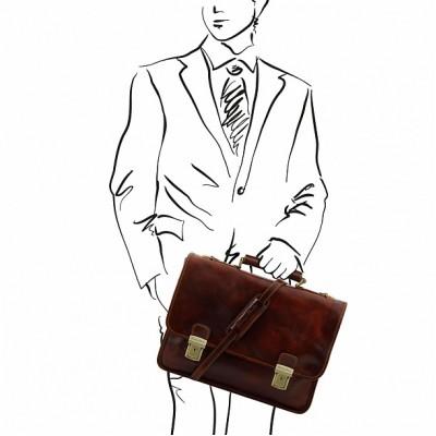 Кожаный портфель мужской FIRENZE (Коричневый)