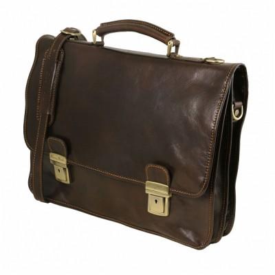 Мужской портфель из натуральной кожи FIRENZE (Темно-коричневый)