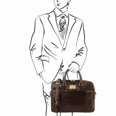 Кожаный портфель для документов URBINO (Темно-коричневый)