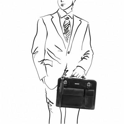 Кожаный портфель мужской VENEZIA (Черный)