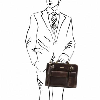 Кожаный портфель для документов VENEZIA (Темно-коричневый)