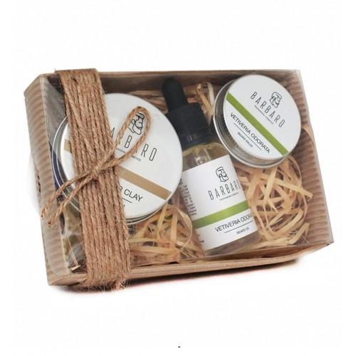Barbaro Set №10 - Подарочный набор из глины для укладки волос и масла с бальзамом для бороды