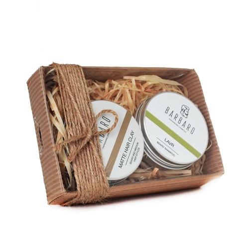 Barbaro Set №9 - Подарочный набор из глины для укладки волос и шампуня для бороды