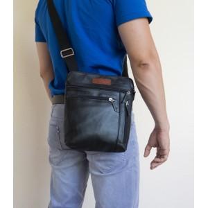 Кожаная мужская сумка через плечо  Assenza black (арт. 5026-01)