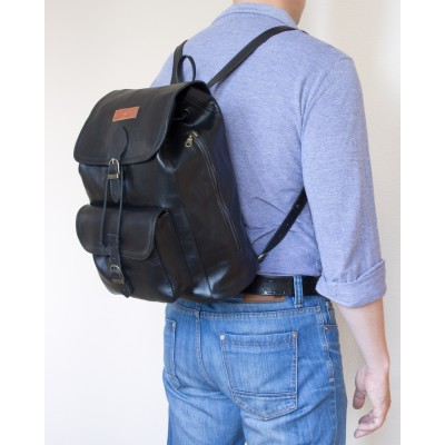 Мужской рюкзак из натуральной кожи Cavino black (арт. 3021-01)