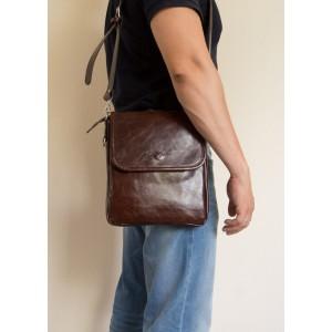 Кожаная мужская сумка через плечо Lotelli brown (арт. 5027-02)