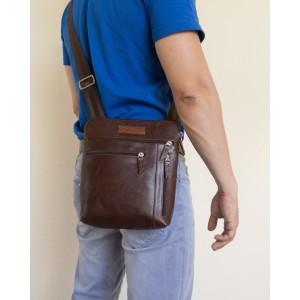Кожаная мужская сумка через плечо Assenza dark terracotta (арт. 5026-94)