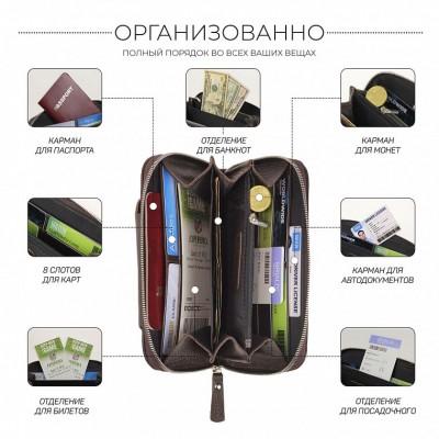 Мужской клатч с отделением для телефона BRIALDI Techno (Техно) relief brown